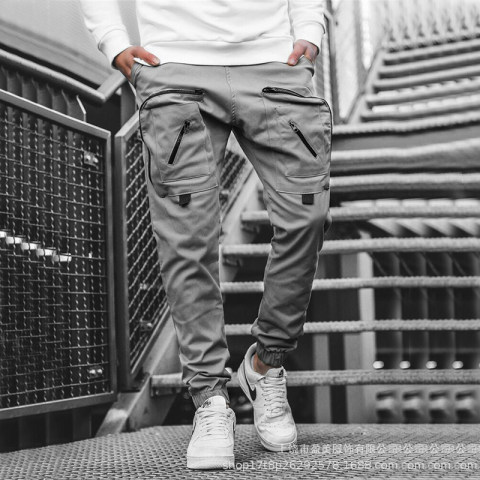 2020 foreign trade new Amazon hot style mens woven casual pants tooling pocket trousers