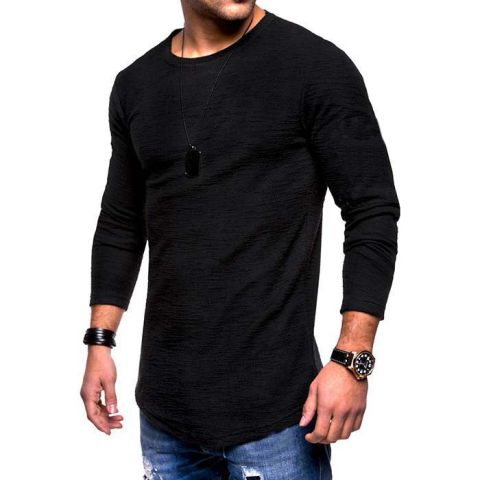 MenS Long Sleeved T Shirt Round Neck