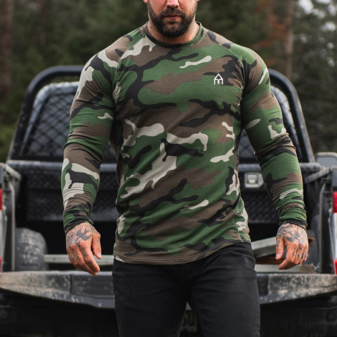 Muscle Doctor European and American brothers quick drying long sleeved t shirt mens tight training sports fitness clothing wholesale customization