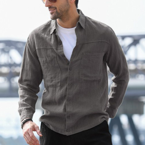 MenS Casual Shirt Cotton Linen Cardigan