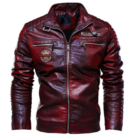MenS Stand Up Collar Zipper Embroidered PU Leather Jacket