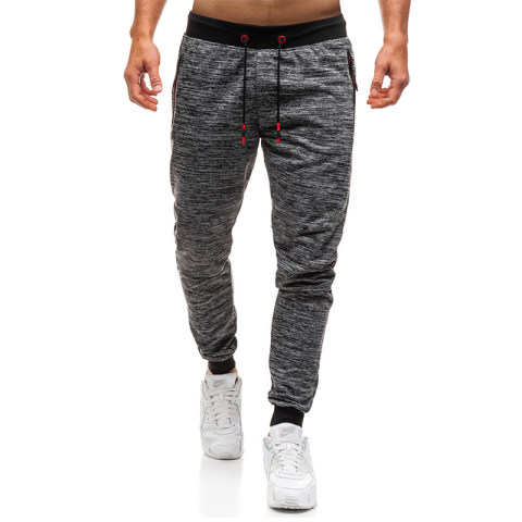 2018 foreign trade European and American mens pocket casual sports pants sweat absorbent breathable self cultivation beam mouth footwear pants 3409