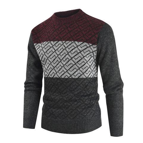 MenS Casual Diamond Round Neck Sweater