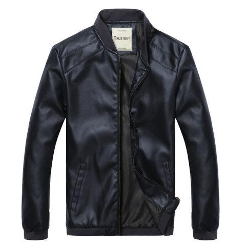 Baseball Collar Solid Color Slim Pu Leather Jacket