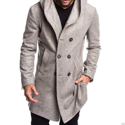 British MenS Hooded Woolen Coat
