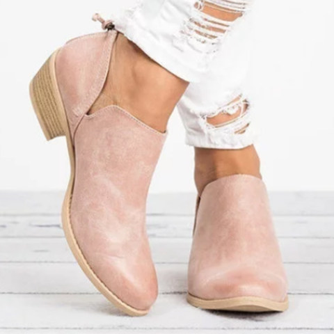 Womens plain Chunky Low Heeled Point Toe Casual Ankle Boots