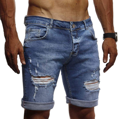 Mens casual ripped blue denim shorts