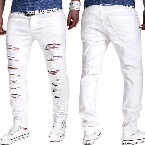 Solid Color Ripped Slim MenS Tight Pants