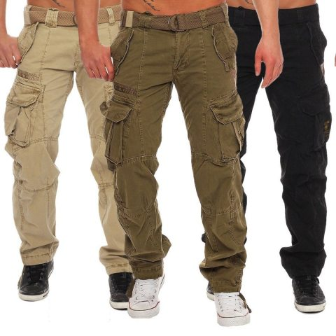 MenS Multi Pocket Straight Leg Trousers