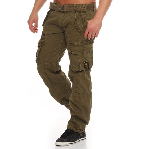 Mens Multi-pocket Straight-leg Trousers