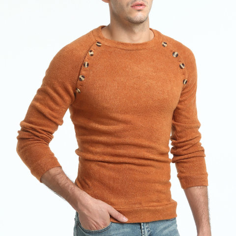 New mens button stitching solid color sweater