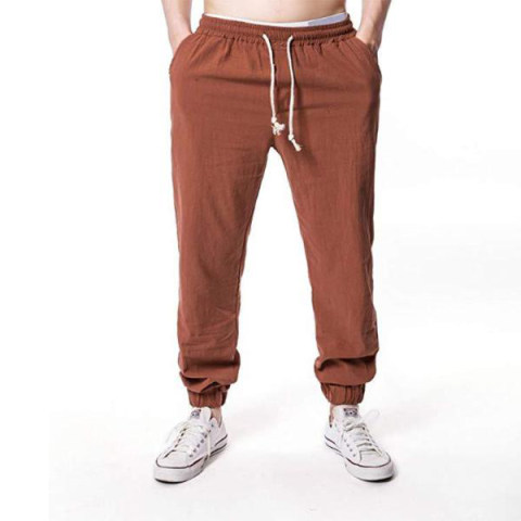 MenS Hip Hop Breathable Cotton And Linen Trousers