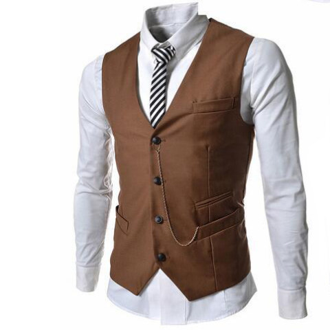 MenS Metal Chain Slim Business Vest