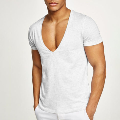 Fitness sports and leisure cotton deep V neck T shirt