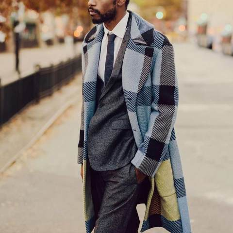 Mens plaid lapel casual coat jacket