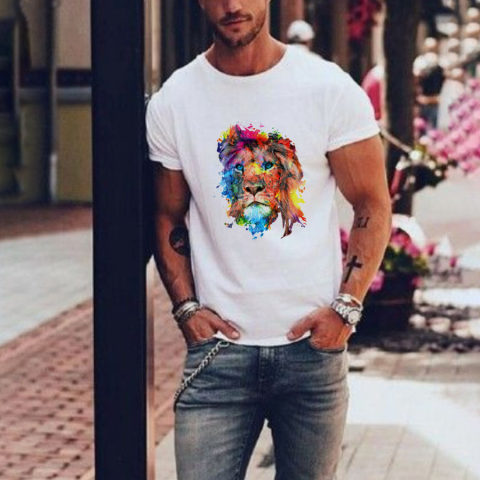 Personalized lion head print short sleeved T shirt