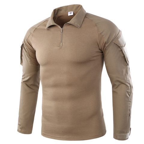 Stand Collar Long Sleeve Camouflage Splicing T-shirt