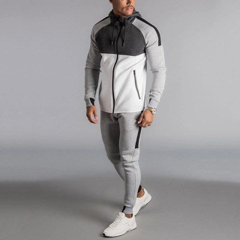 Sport colouring zip up long sleeves hoodie long suit