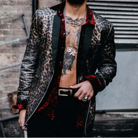 Mens Fashion Leopard Print Jacket