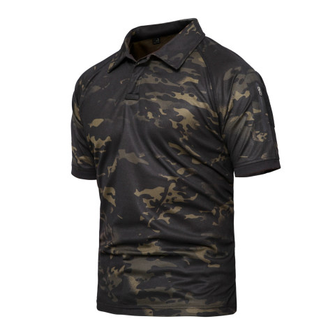 Camouflage Outdoor Tactical Quick-drying Lapel T-shirt