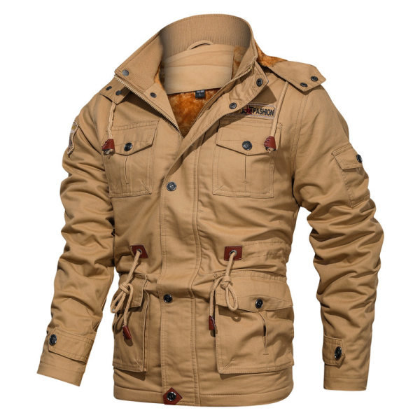 Mens Detachable Hooded Thick Cotton Wash Jacket