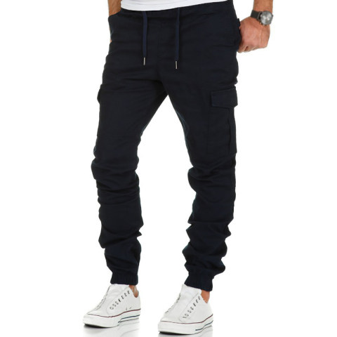Commuting Street Workwear Multi-pocket Pure Color Pants