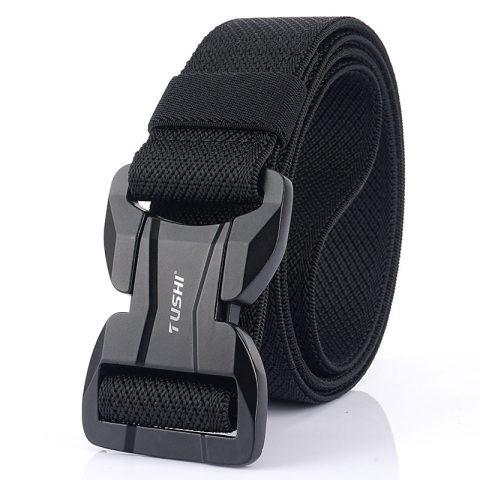 Men's outdoor tide elastic nylon belt belt tactical plastic magnetic buckle canvas pants