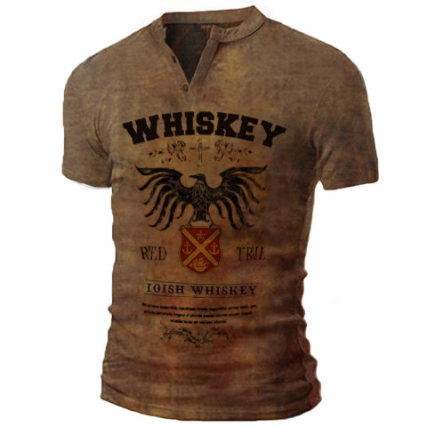 Mens Whiskey Print T-shirt Outdoor Tactical Retro Shirt