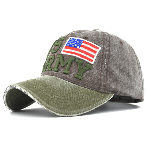 US Army Washed Baseball Cap Spring/Summer New Hat 3d Embroidered Letter Baseball Cap