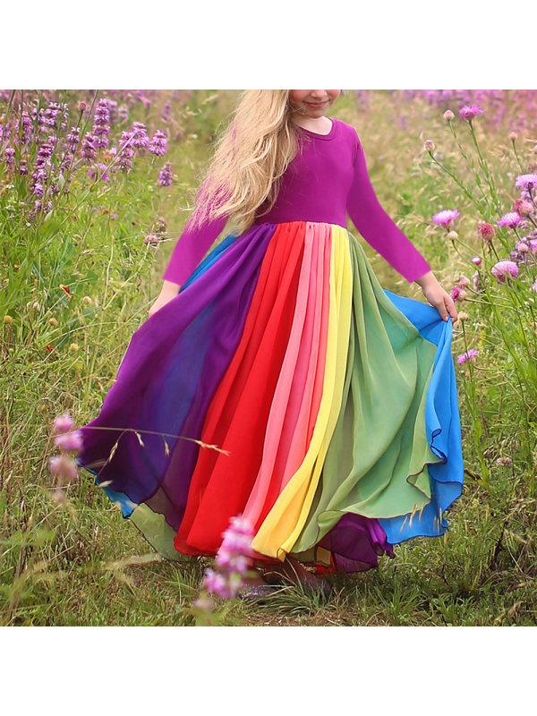 【12M-7Y】Sweet Round Neck Long Sleeve Rainbow Mesh Dress