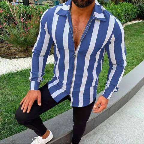 Mens Zip Sleeve Striped Casual Shirt