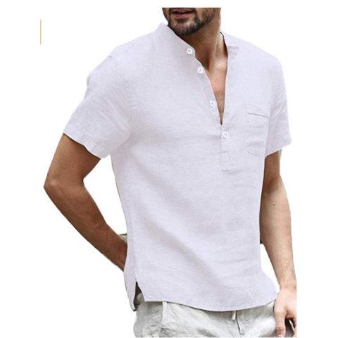 2019 cross border new AliExpress wish ebay casual linen solid color half open shirt men39s clothing