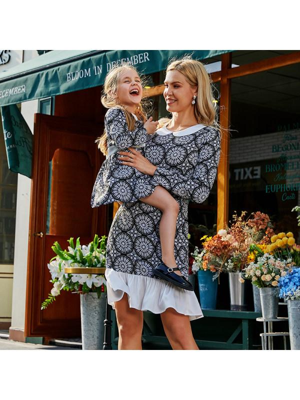 Elegant Black And White Print Lapel Long Sleeve Mom Girl Matching Dress