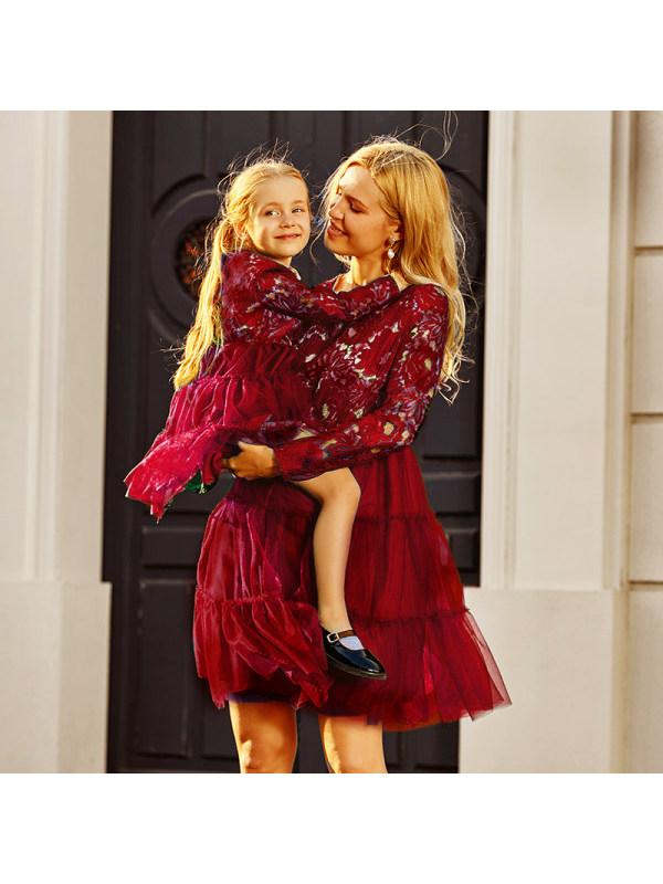 Fashion Round Neck Long Sleeves Rad Lace Mesh Mom Girl Matching Dress
