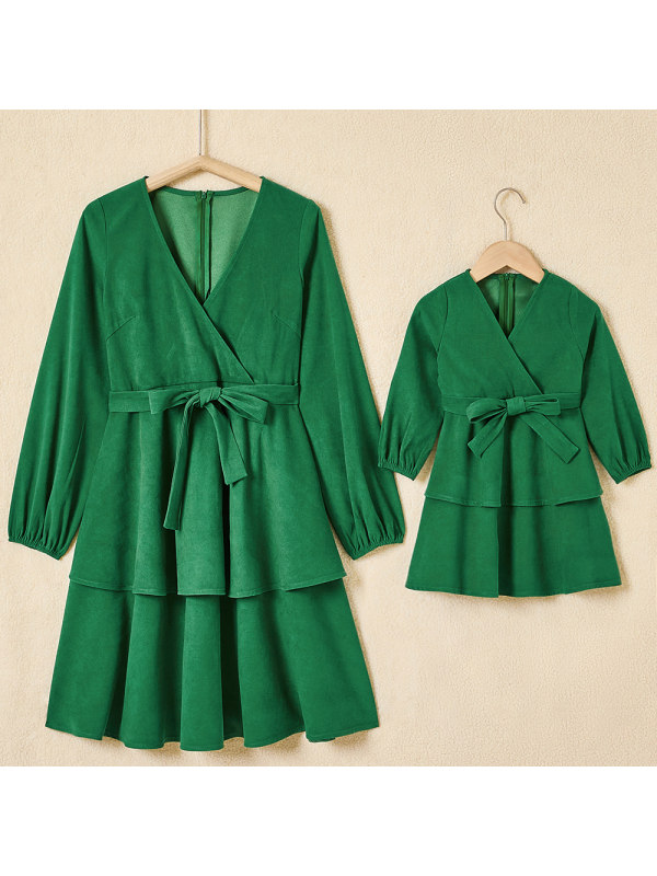 Classic Green Suede V-neck Long Sleeve Mom Girl Matching Dress