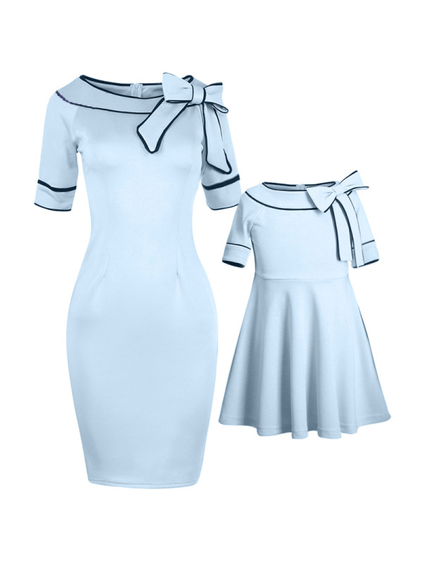 Bowknot Decorated Mom Girl Matching Skater Dress