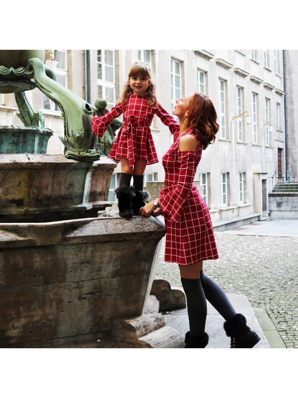 Plaid Cold Shoulder Self Tie Mom Girl Matching Dress - 1385