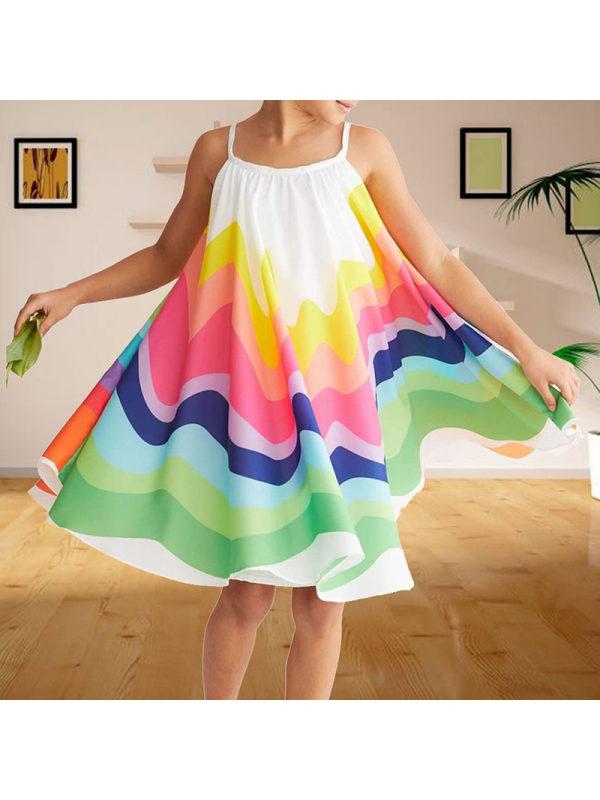 【18M-7Y】Girl Printed Color Sling Dress