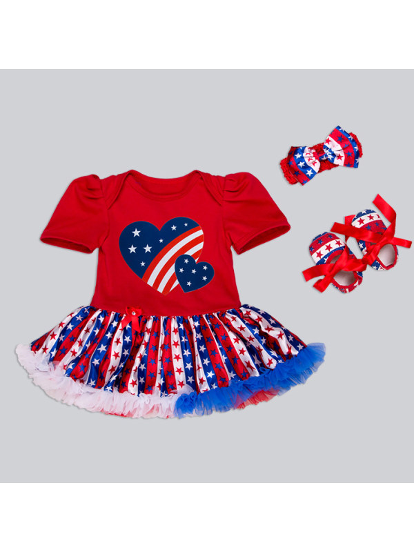 【0M-18M】Star Prints Heart Pattern Romper With Headband and Shoes