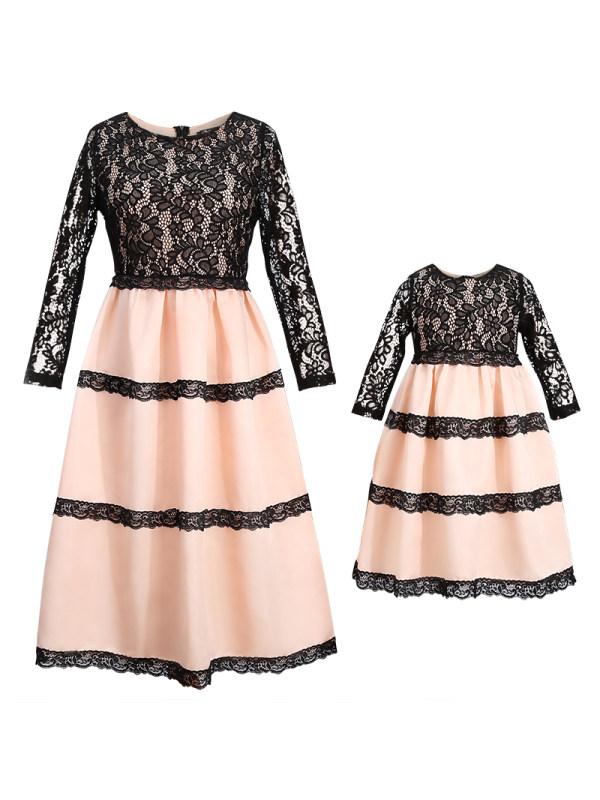 Mom Girl Flower Lace Matching Dress