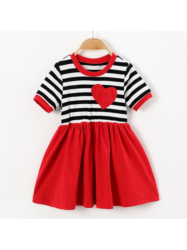 【18M-7Y】Cute Heart Pattern Striped Round Neck Short Sleeve Dress