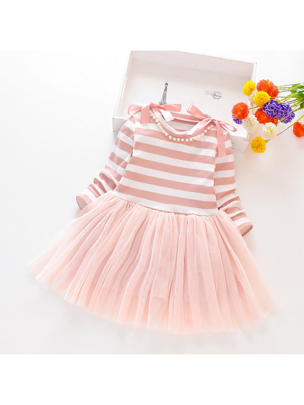 【18M-7Y】Modern Round Neck Bow Striped Long-Sleeved Stitching Mesh Dress