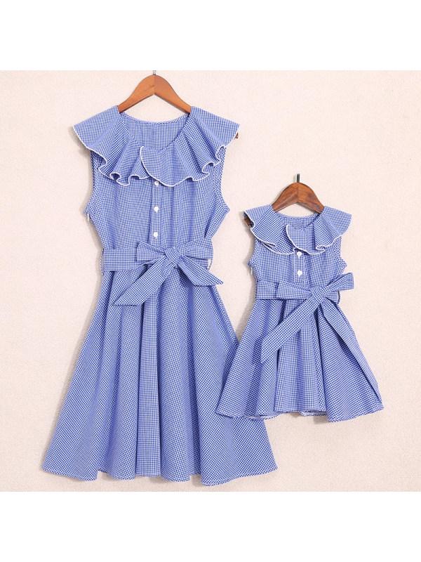 Plaid Falbala Bowknot Decorate Mom Girl Matching Dress - 1358