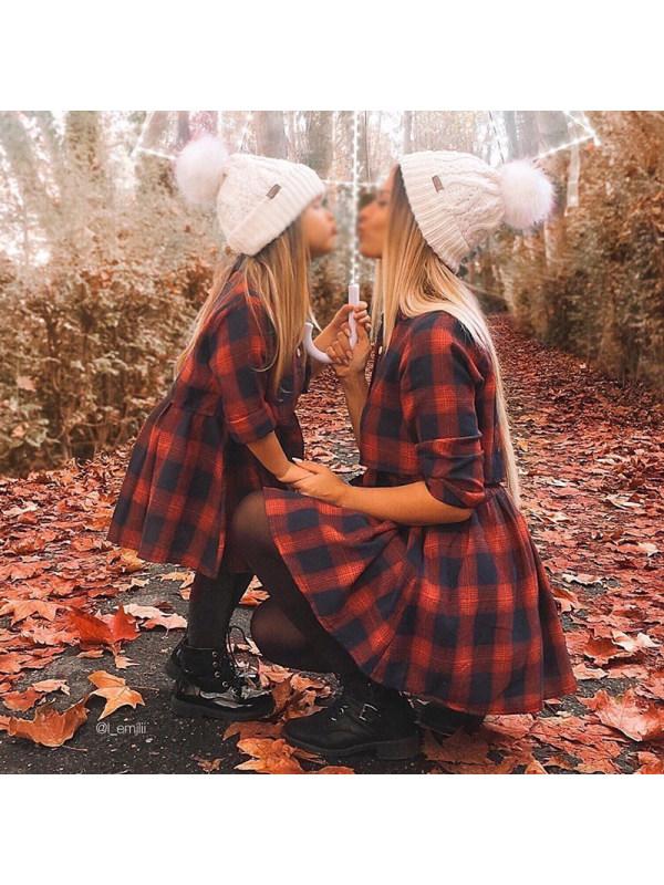 Fashion Collar Long Sleeve Red Plaid Mom Girl Matching Dress - 1378