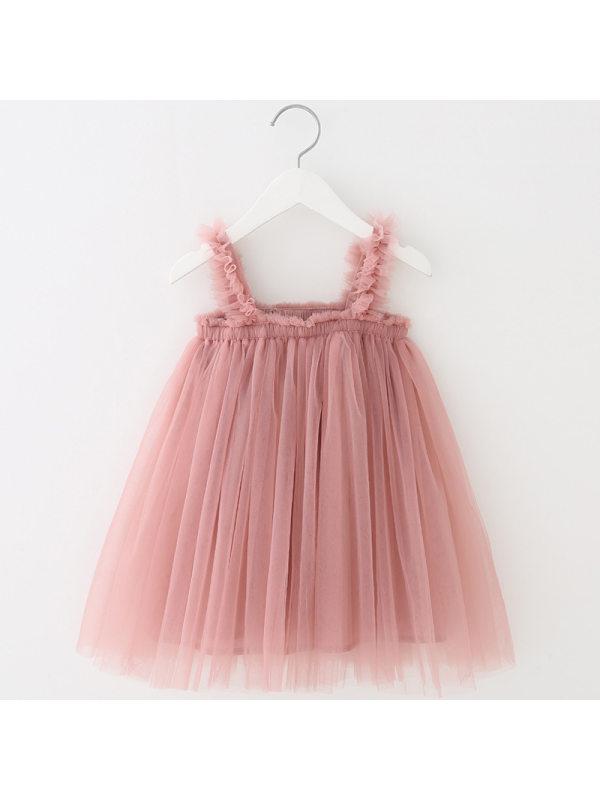 【18M-7Y】Girls Suspender Mesh Princess Tulle Dress
