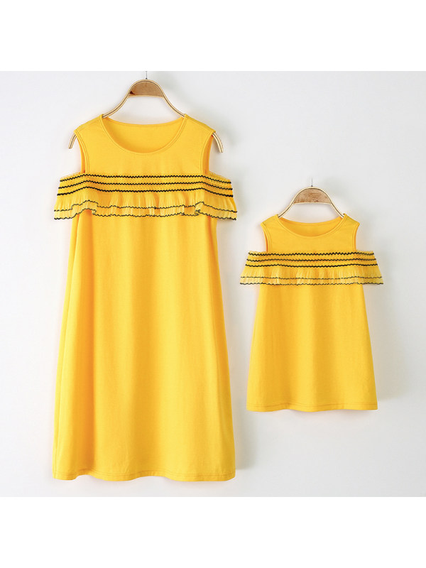 Striped Ruffled Round Neck Yellow Mom Girl Matching Dress - 1396