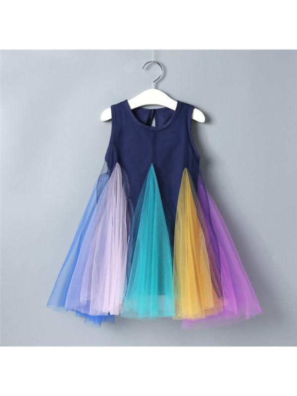 【18M-7Y】Sweet Round Neck Sleeveless Colorful Mesh Dress