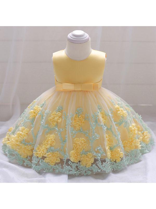 【6M-24M】Flower Decorated Bowknot Belt   Princess Dress