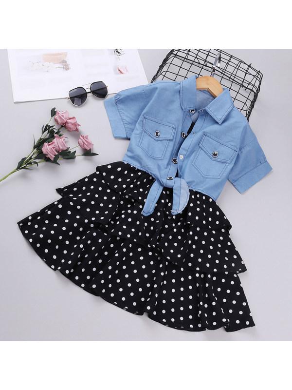 【3Y-13Y】Suspenders Polka Dot Cake Skirt Denim Jacket Set