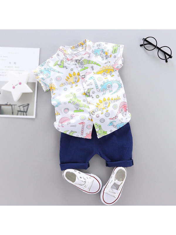 【12M-4Y】Boys Casual Stand Collar Cartoon Shirt Short Sleeve Shorts Two-Piece Sets